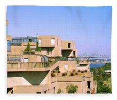 Housing Complex With A Bridge Fleece Blanket