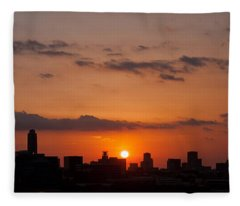 Fleece Blanket featuring the photograph Houston Skyline At Sunset by Todd Aaron
