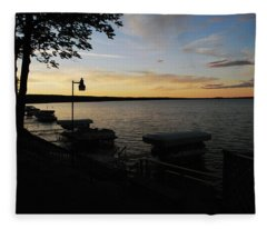 Hubbard Lake Sunset Fleece Blanket