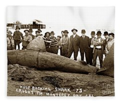 Huge Basking Shark Near Fishermans Wharf Monterey California Circa 1912 Fleece Blanket