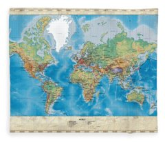 Huge Hi Res Mercator Projection Physical And Political Relief World Map Fleece Blanket
