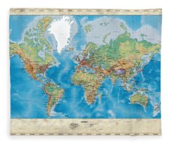 Physical Geography Digital Art Fleece Blankets