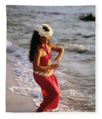 Hula Dancer Hawaii At Waters Edge Surf Fleece Blanket