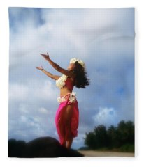 Hula Dancer Hawaii Fleece Blanket