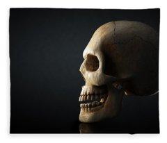 Human Skull Profile On Dark Background Fleece Blanket