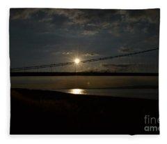 Humber Bridge Sunset Fleece Blanket