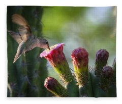 Hummingbird Breakfast Southwest Style  Fleece Blanket