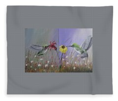 Hummingbird Pair Fleece Blanket