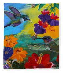 Hummingbirds Prayer Warriors Fleece Blanket