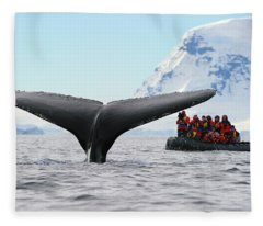 Humpback Whale Fluke  Fleece Blanket