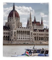 Hungarian Parliament Across The Danube Fleece Blanket