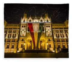 Hungarian Parliament At Night Fleece Blanket