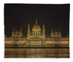 Hungarian Parliament Building Night Fleece Blanket