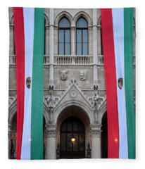 Hungary Flag Hanging At Parliament Budapest Fleece Blanket