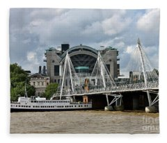 Hungerford Bridge And Charing Cross Fleece Blanket