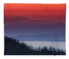 Hurricane Ridge Sunset Fleece Blanket