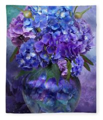 Hydrangeas In Hydrangea Vase Fleece Blanket