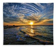 Hypnotic Sunset At Israel Fleece Blanket