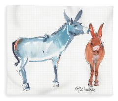 I Love You Donkey Art Watercolor Painting By Kmcelwaine Fleece Blanket