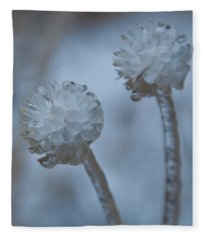 Ice-covered Winter Flowers With Blue Background Fleece Blanket