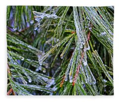 Ice On Pine Needles  Fleece Blanket