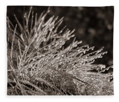 Ice On Pine Fleece Blanket