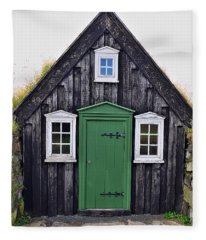 Icelandic Old House Fleece Blanket