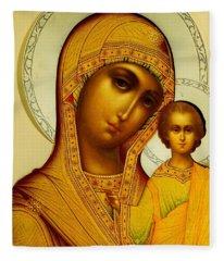 Icon Of The Virgin Kazanskaya Fleece Blanket