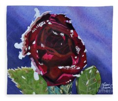 Icy Rose Watercolor Art Painting Fleece Blanket