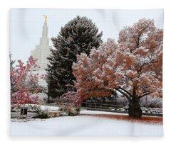 Idaho Falls Temple Winter Fleece Blanket