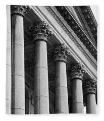 Illinois Capitol Columns B W Fleece Blanket
