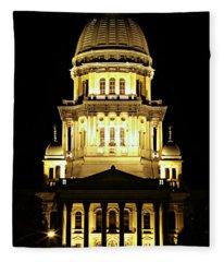 Illinois State Capitol -- Night Fleece Blanket