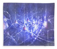 Illustration Depicting Pyramidal Neurons Fleece Blanket