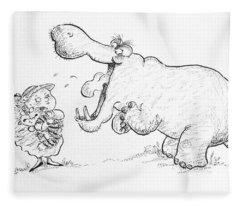 Im Not Scared Of You, Mr Hippo Ink & Crayon On Paper Fleece Blanket