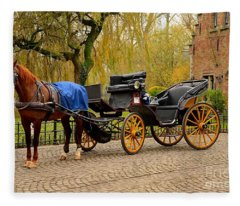Immaculate Horse And Carriage Bruges Belgium Fleece Blanket