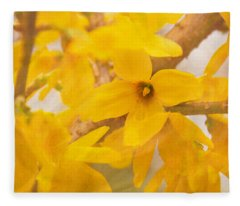 Impressionist Forsythia Fleece Blanket