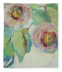 Impressionist Roses  Fleece Blanket
