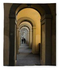 In A Distance - Vasari Corridor In Florence Italy  Fleece Blanket