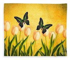 In The Butterfly Garden Fleece Blanket