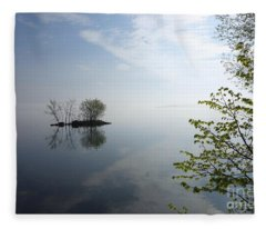 In The Distance On Mille Lacs Lake In Garrison Minnesota Fleece Blanket