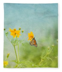 In The Garden - Monarch Butterfly Fleece Blanket