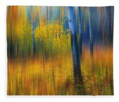 In The Golden Woods. Impressionism Fleece Blanket