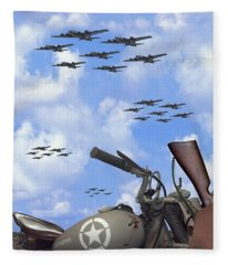Indian 841 And The B-17 Panoramic Fleece Blanket