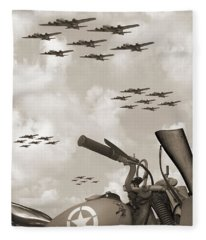Indian 841 And The B-17 Panoramic Sepia Fleece Blanket