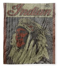 Indian Motorcycle Postertextured Fleece Blanket