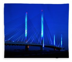 Indian River Bridge At Night Fleece Blanket