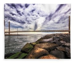 Indian River Bridge Clouds Fleece Blanket