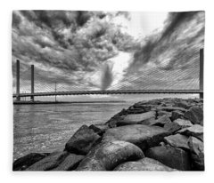 Indian River Bridge Clouds Black And White Fleece Blanket