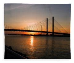 Indian River Bridge Sunset Reflections Fleece Blanket