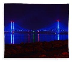 Indian River Inlet Bridge After Dark Fleece Blanket